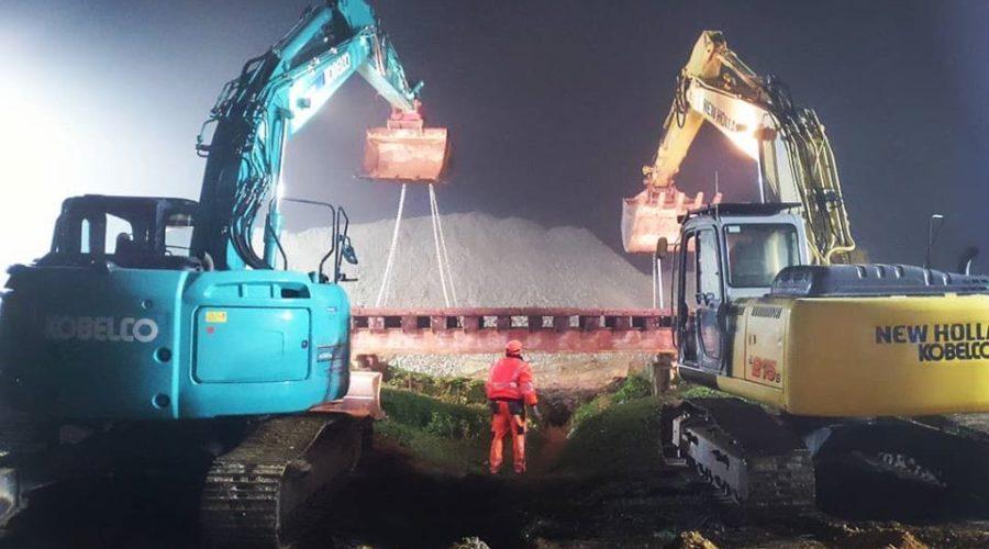 Bahnbaustelle im 24h Betrieb